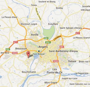 Plan d'acces de La Brasserie de Bouchemaine Jean-Baptiste LECLERCQ