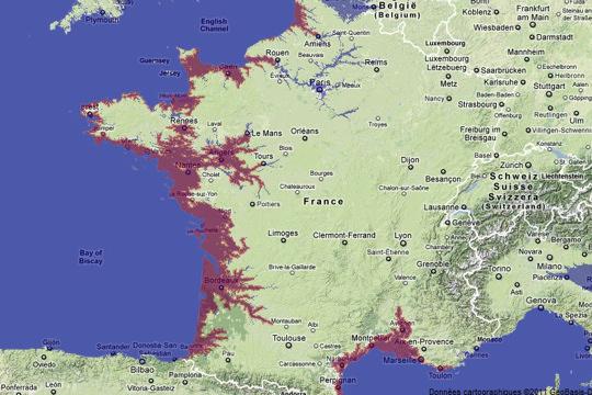 La montée des océans : la France en 2100 avec 1 m d'eau en plus !